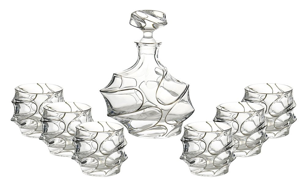 (D) Decanter Set with 6 Whisky/Scotch Tumblers In Platinum Decoration, Lead Free