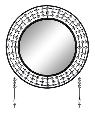 (D) Round Silver and Black Wall Mirror with Key Chain Hooks and Swarovski Decor