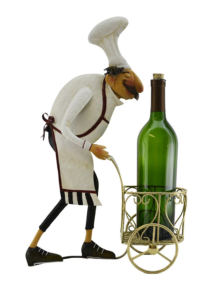 (D) Metal Chef with Cart and Wine Bottle Figurine 19 x 12, Gift for Wine Lovers
