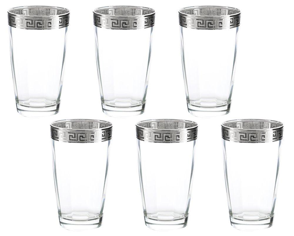 (D) Set of 6 Old-Fashioned Highball Tumblers, Vintage Silver Greek Key Pattern