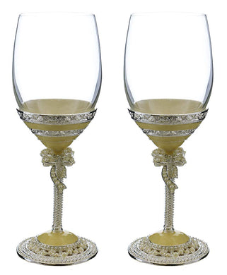 (D) Pair of Wine Glasses with a Bow and Swarovski Crystals, Modern Glassware