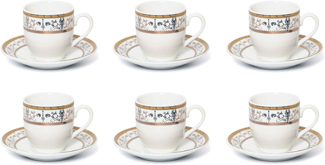 Royalty Porcelain 12-pc 'Tiny Gold' Coffee Set, 6 Cups, 6 Saucers, Bone China