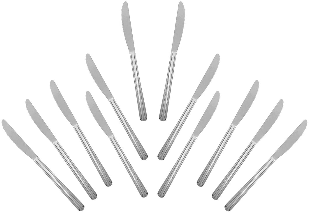 Domi Stainless Steel Heavy Weight Polished Dinner Knife (12 PC)