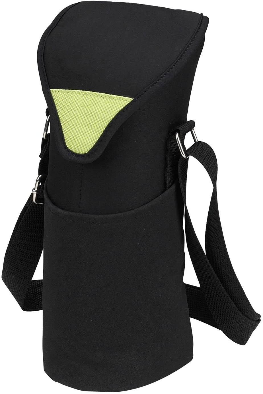 (D) Single Bottle Cooler Tote, Picnic Backpack Bag for Outdoor (Black Green)
