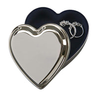 GIFTS PLAZA (D) Polished Stainless Steel Jewelry Box for Women 'Heart' Silver Storage Box