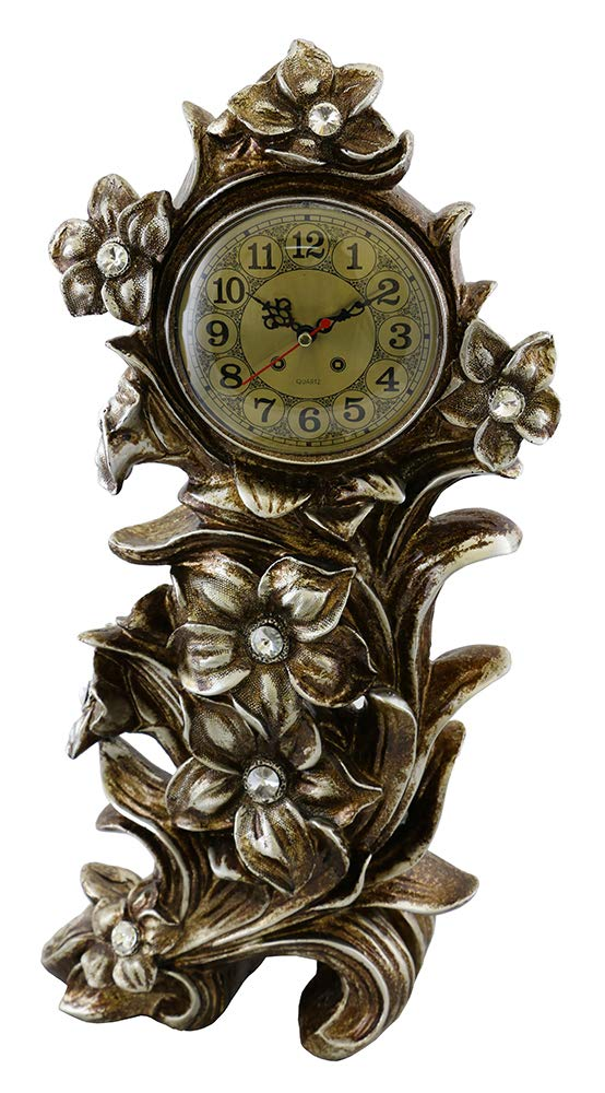 (D) Vintage Table Clock 21 inches with Flowers European Retro Style