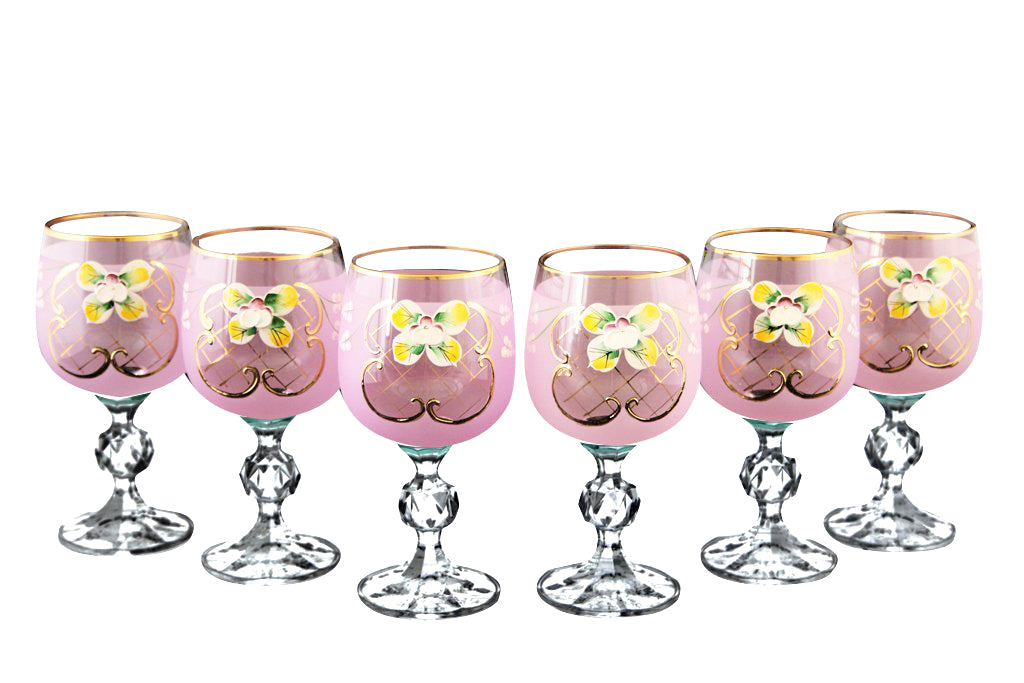 Crystalex 6pc Bohemia Colored Crystal Pink Enamel Wine Goblets Set