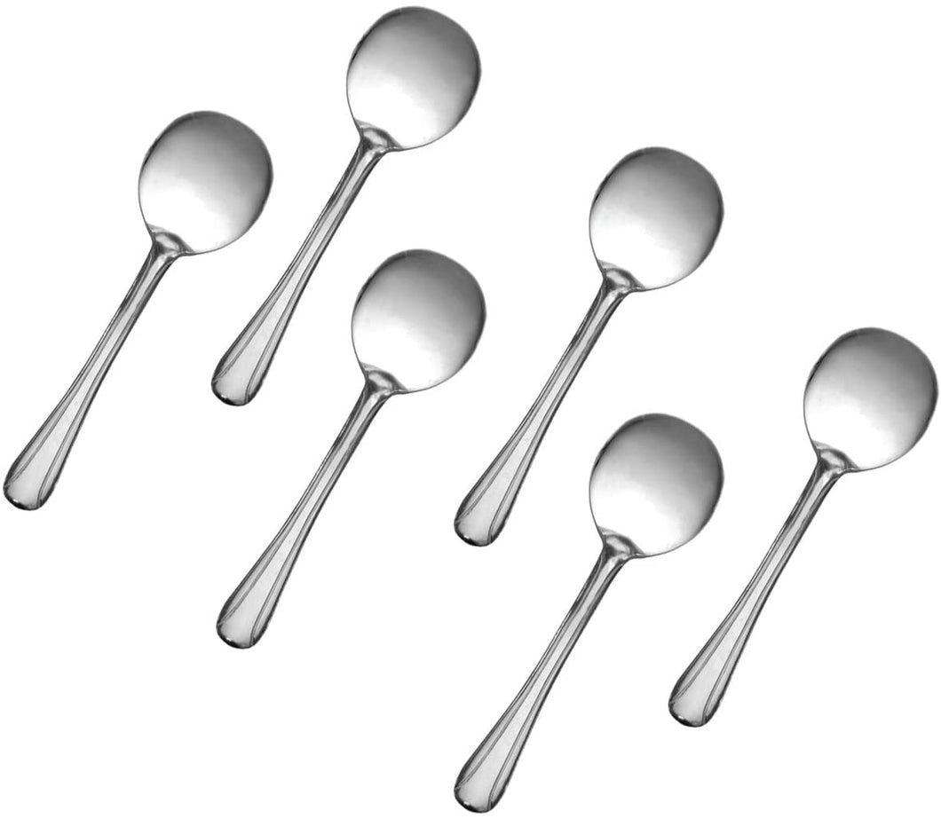 Stainless Steel Bouillon Spoon, Flatware Set 'Domi' for (6)