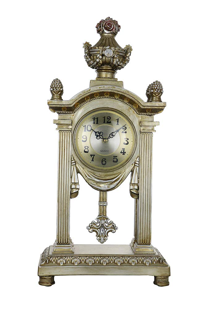 (D) Vintage Table Clock 22 x 10 inches Gold and Silver European Retro Style