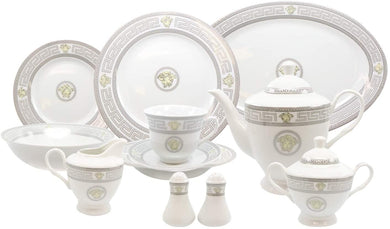 Royalty Porcelain 49-pc Dinner Set Medusa, Greek Key, Silver Banquet Set for 8