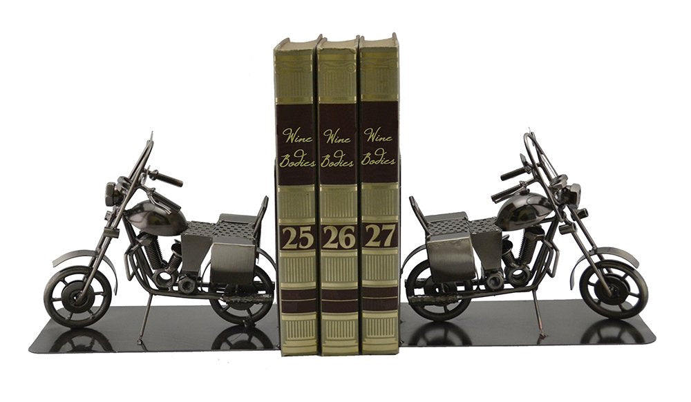 (D) Metal Pair of Motorcycle Book Stand Industrial Style
