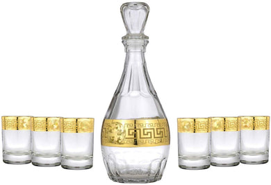 Crystal Decanter and 6 Liqueur Glasses Set Medusa, 24K Gold 8-pc, Greek Key