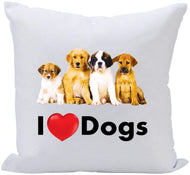 GIFTS PLAZA (D) Sofa Throw Pillow 16 Inch, White with Puppies, Funny Pillow for Dogs Lovers