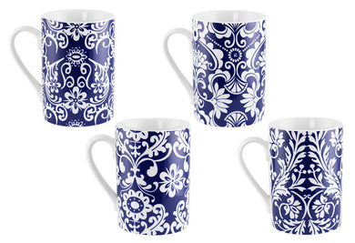 (D) Royalty Porcelain 4-pc Blue Mugs with White Leaves Coffee Set