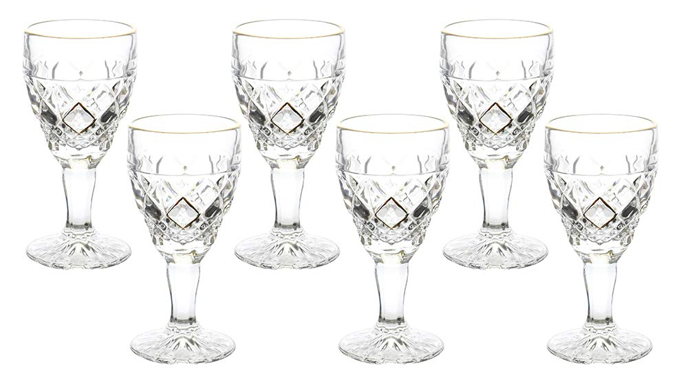 (D) Crystal Liquor Stem Glasses with Gold Rim 6-pc Set, Old-Fashioned Glassware