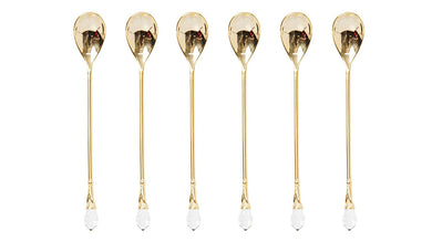 Italian Collection 6pc Demi Spoons, Dessert Flatware Set with White Swarovski Stone (Gold)