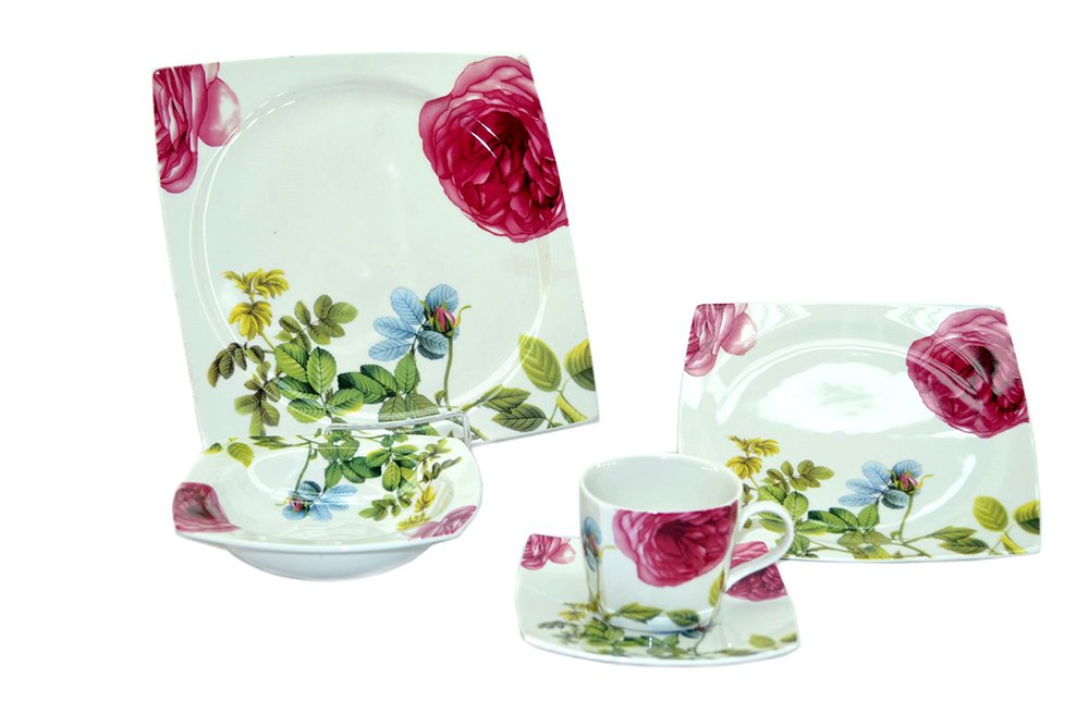 (D) Royalty Porcelain White with flowers Plate, Cup and Saucer 20-pc Dinnerware Set