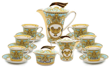 Royalty Porcelain 18-pc Greek Key Tea and Coffee Set Luxury Teal Tableware for 6