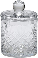 (D) Crystal Glass Cookie Jars, Biscuit Barrel with Handcuted Pattern