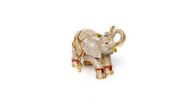 Trinket Jewelry Box with Swarovski, Decorative Figurines Gold Elephant (Medium)