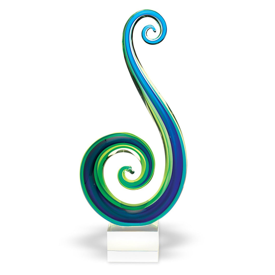 (D) Handcrafted Murano Art Glass Marina Blue Spectrum Figurine 14