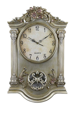 (D) Antique Style Wall Clock 25 x 15 inches with Columns Floral Decor