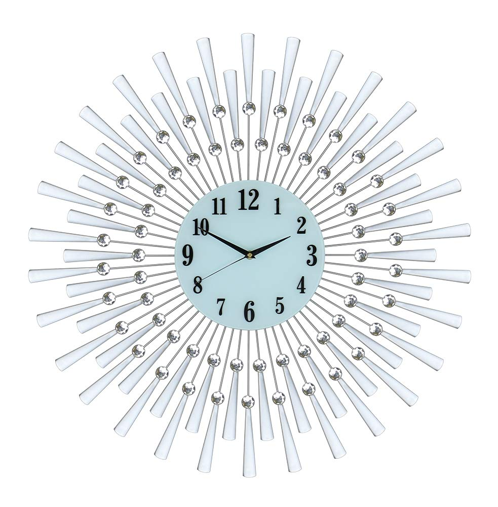 (D) Magnificent Silver Spoked Wall Clock 28 inches with Crystals