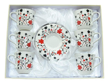 (D) Royalty Porcelain 12-pc White Coffee Cup and Saucer with red flowers Set