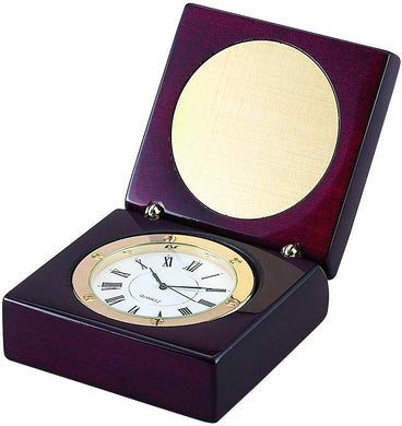 (D) Natural Wooden Box for Men, Brown Box with Clock, Corporate Gift for Men
