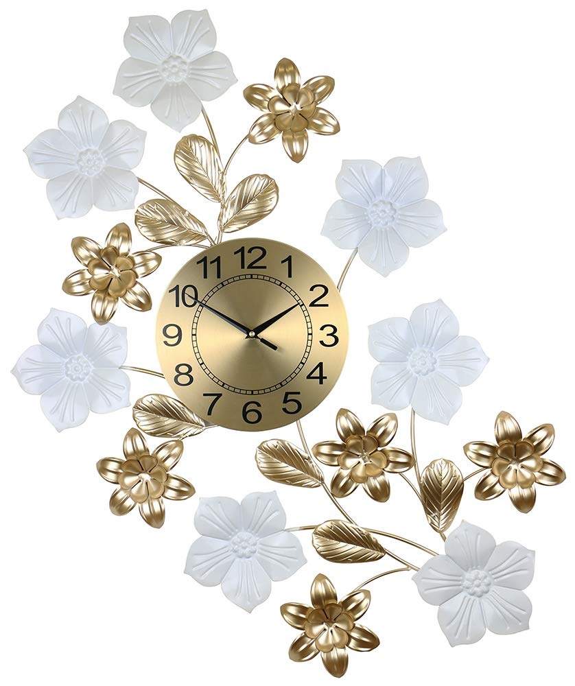 (D) Exquisite Wall Clock with Gold and White Flowers 34 x 26 inches