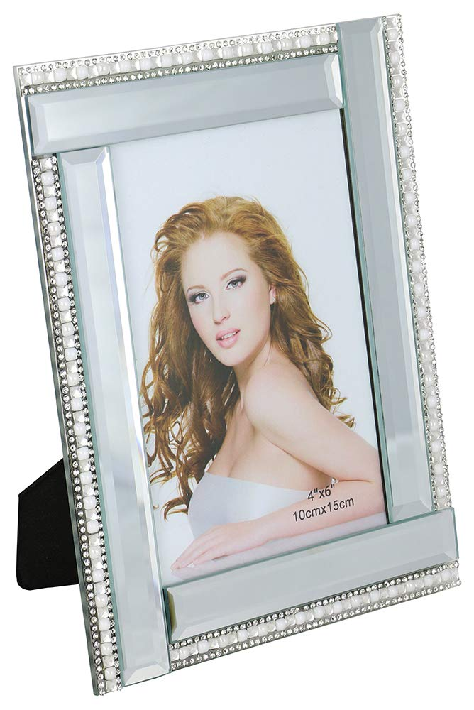(D) Decorative Crystallized Photo Frame with Small Pearl and Crystal Lines