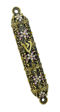 (D) Gold Handcrafted Mezuzah, Flowers Design with Purple Swarovski Crystals 4.5 Inch