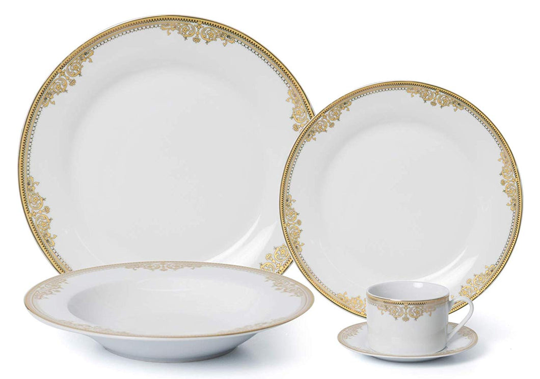 Royalty Porcelain 5pc Rococo Gold Dinner Set for 1, 24K Gold, Premium Bone China