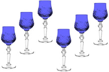 Russian Color Crystal Shot Glasses Stemmed Vodka, Liquor Glassware 6 Pc (Blue)