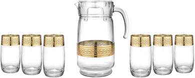Greek Key Design Water Beverage Set 1 Pitcher Jug With 6 Hiball Glasses