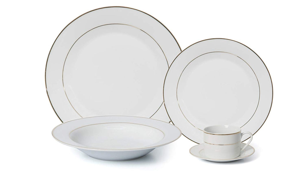 Royalty Porcelain 5pc Dinner Set for 1, 24K Gold, Bone China Porcelain (2310G-5)
