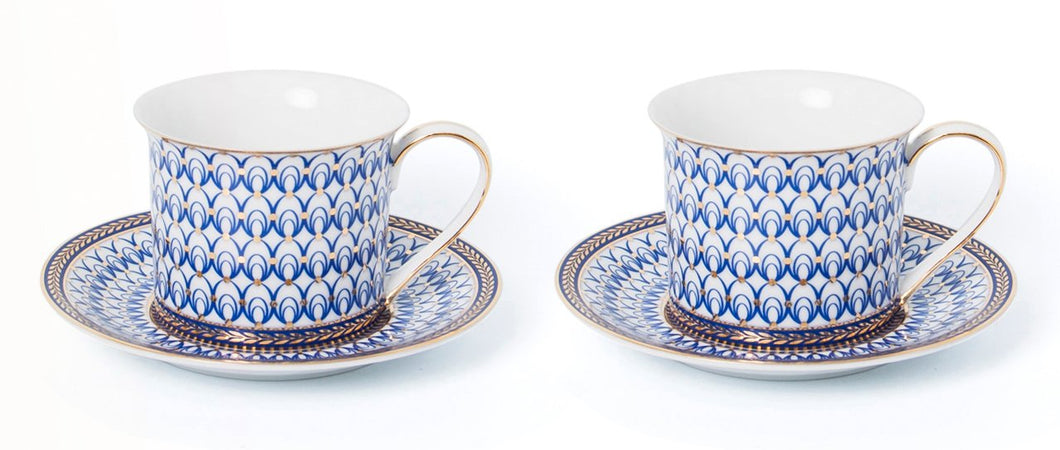 Royalty Porcelain Luxury Tea or Coffee Cup Set, 24K Gold (4 PC, Cobalt Net)