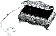 GIFTS PLAZA (D) Ornate Stainless Steel Jewelry Box for Women Footed Silver Storage Box