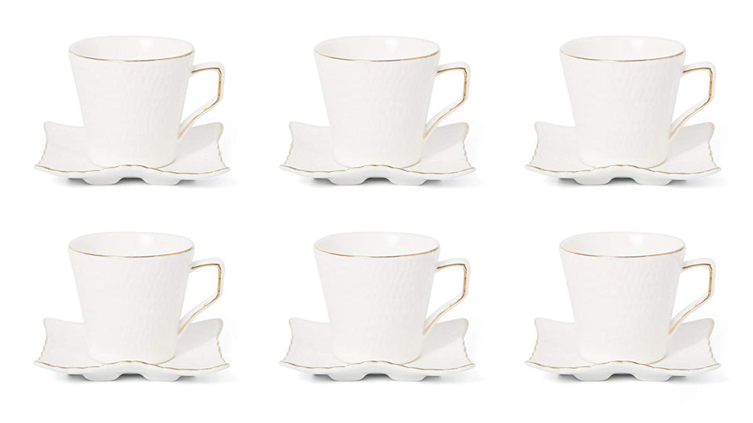 Royalty Porcelain 12-pc Espresso Coffee Set for 6, Gold Bone China (JS-1988-12G)