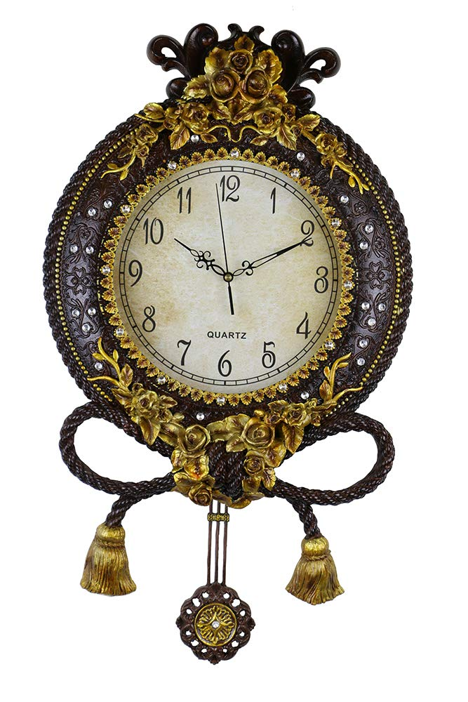 (D) Elegant Round Wall Clock 21 inches with Pendulum Mechanism and Gold Flowers