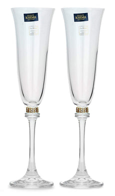 Italian Collection Crystal Champagne Stem Glasses 2pc, Silver Swarovski (Gold)