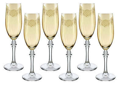 (D) Crystal Champagne Stem Glasses with 6-pc Set, Vintage Glassware
