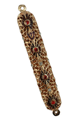 (D) Graceful Gold Handcrafted Mezuzah with Red Swarovski Crystals 6 Inch