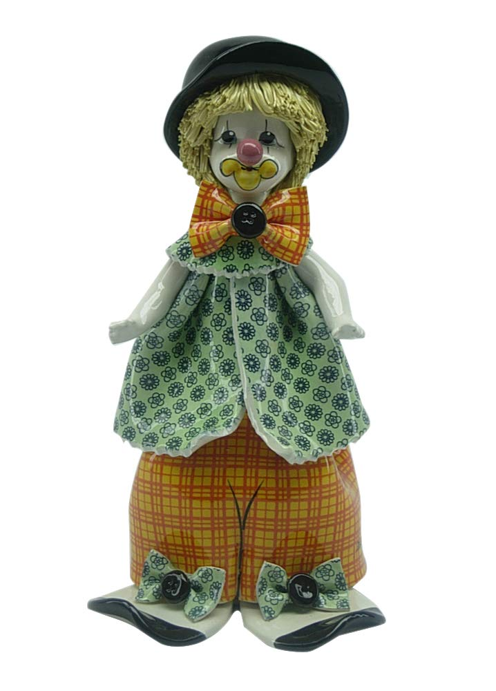 (D) Glazed Porcelain Souvenir Figurine Clown with Black Hat 9.5-inch