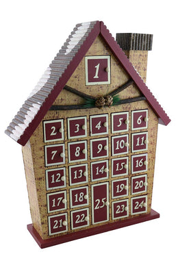 (D) Handcrafted Christmas Decor Log Cabin Advent Calendar 15x12 Inch