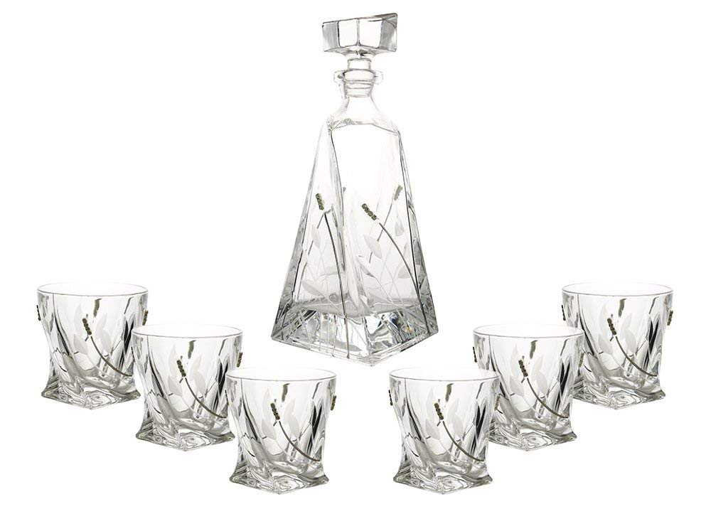 (D) Decanter Set with 6 Whisky/Scotch Tumblers with Crystal Decoration, Lead Free