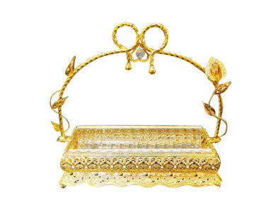 Italian Collection Gold Сandy Serving Tray with Handle for Snacks, Fruits