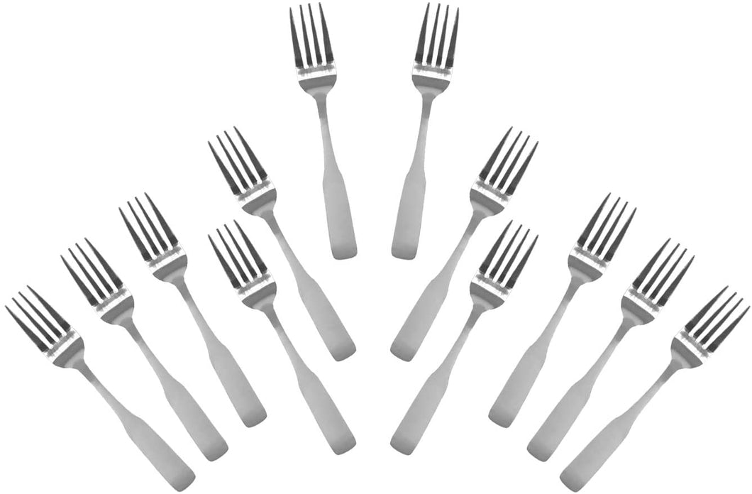 Stainless Steel Salad Forks, Flatware Set 'Esquire' for (12)