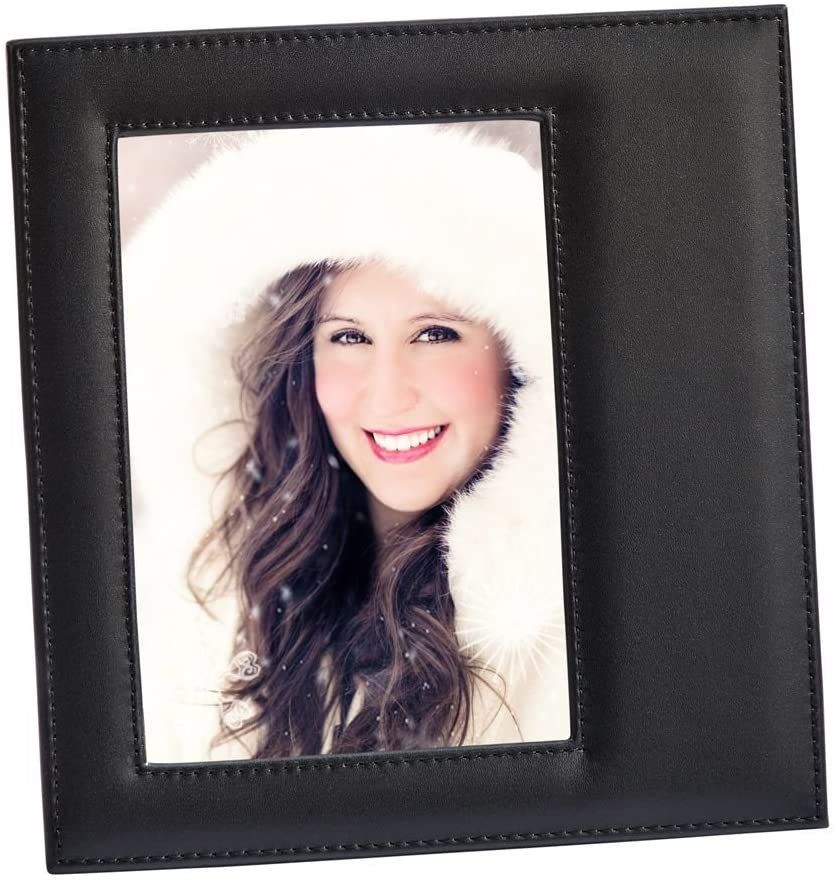 (D) Black Leather Photo Frame, Best Friend Picture Frame (4