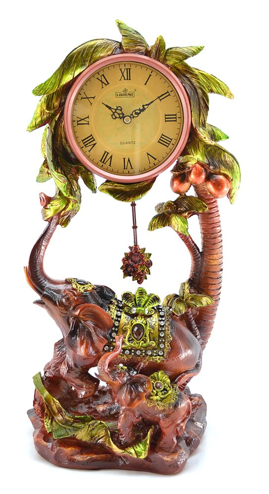 (D) Charmingly Table Clock Elephants 21 inches